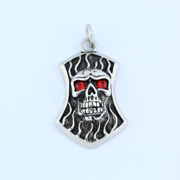 Stainless Steel Skull Plaque With Red Eyes Pendant