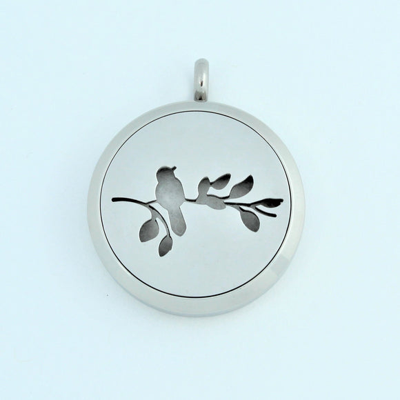 Stainless Steel Bird On Branch Scent Pendant