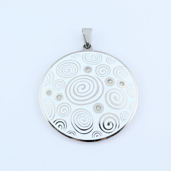 Stainless Steel White Swirl CZ Disc Pendant