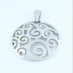 Stainless Steel Swirl Disc Pendant