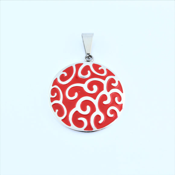 Stainless Steel Red Swirl Disc Pendant