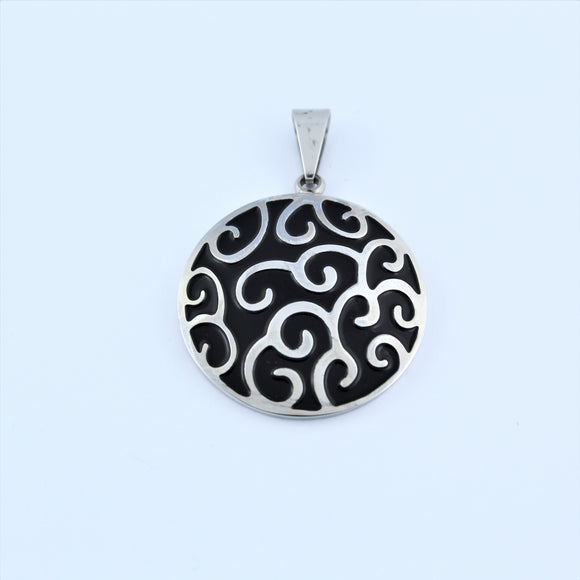 Stainless Steel Black Swirl Disc Pendant