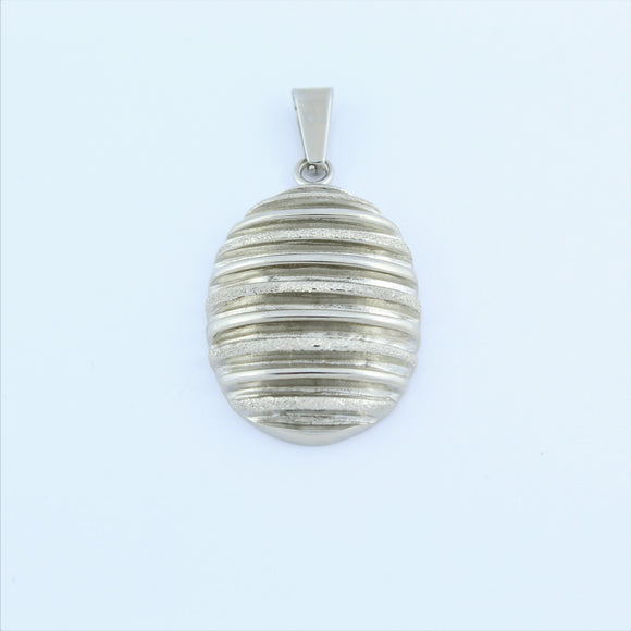 Stainless Steel Oval Ridged Pendant