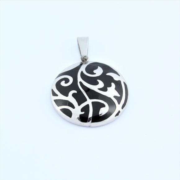 Stainless Steel Black Vine Disc Pendant