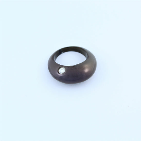 Stainless Steel Black Ring With CZ Pendant
