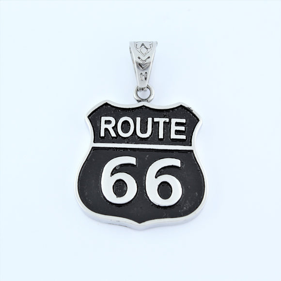 Stainless Steel Route 66 Pendant