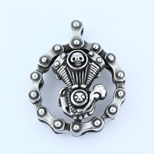 Stainless Steel Motor In Bike Chain Circle Pendant