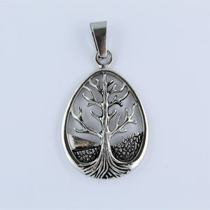 Stainless Steel Tear Drop Tree Of Life Pendant