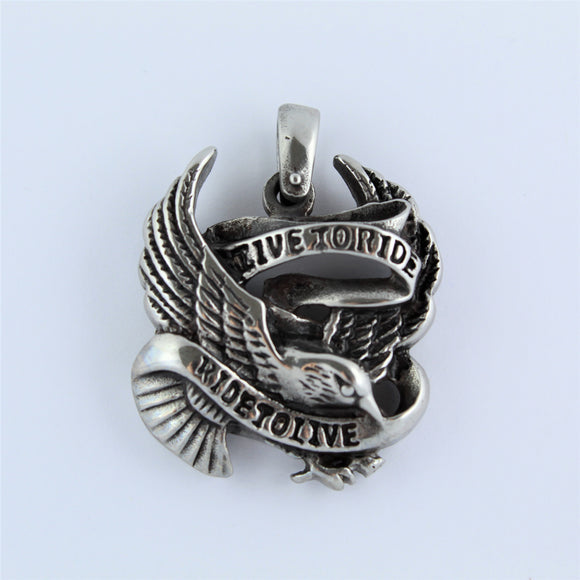 Stainless Steel Live To Ride Pendant