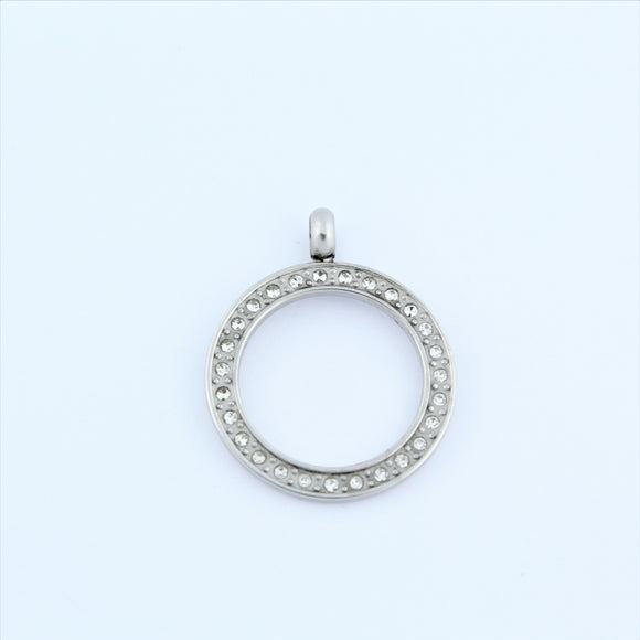 Stainless Steel Ring with CZ's Pendant