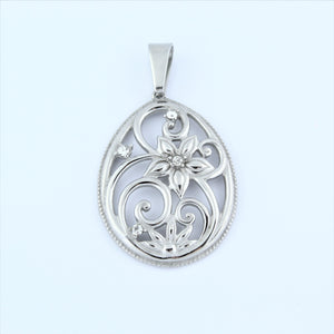 Stainless Steel Tear Drop Flower CZ Pendant