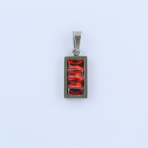 Stainless Steel Rectangle Red CZ Pendant