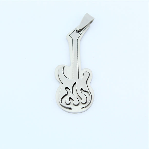 Stainless Steel Flame Guitar Pendant