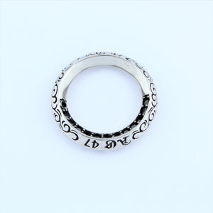 Stainless Steel Ring With Black CZ Pendant