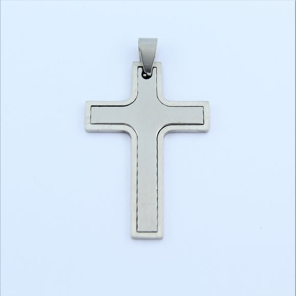 Stainless Steel Two Piece Cross Pendant