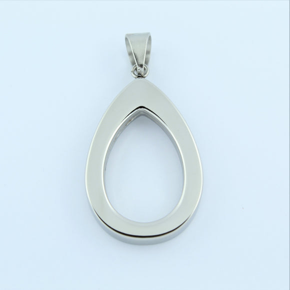Stainless Steel Large Tear Drop Pendant