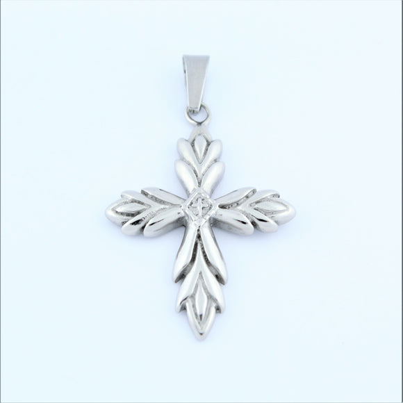 Stainless Steel Leaf Cross Pendant