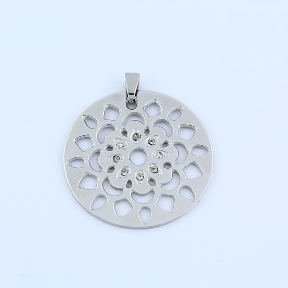 Stainless Steel Cut Out Flower Disc With CZ Pendant