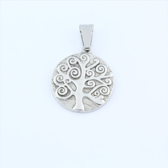 Stainless Steel Curly Tree Of Life Pendant