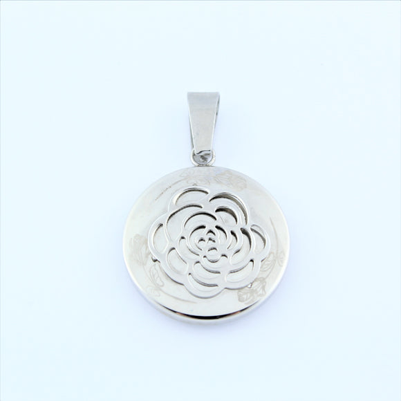 Stainless Steel Rose Disc Pendant