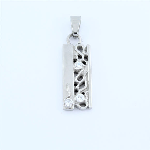 Stainless Steel Vine Tag With CZ Pendant