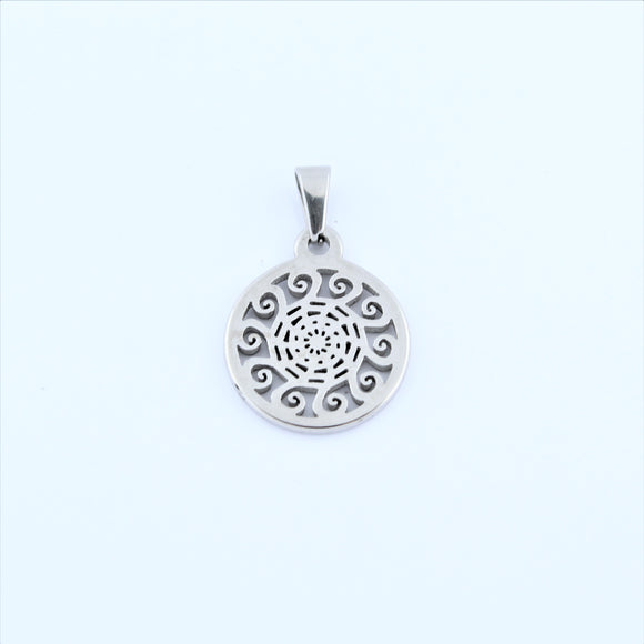 Stainless Steel Small Swirl Sun Disc Pendant