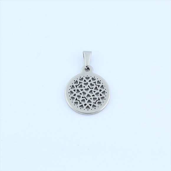 Stainless Steel Small Heart Disc Pendant