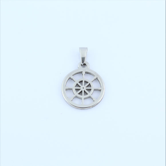 Stainless Steel Small Ships Wheel Pendant