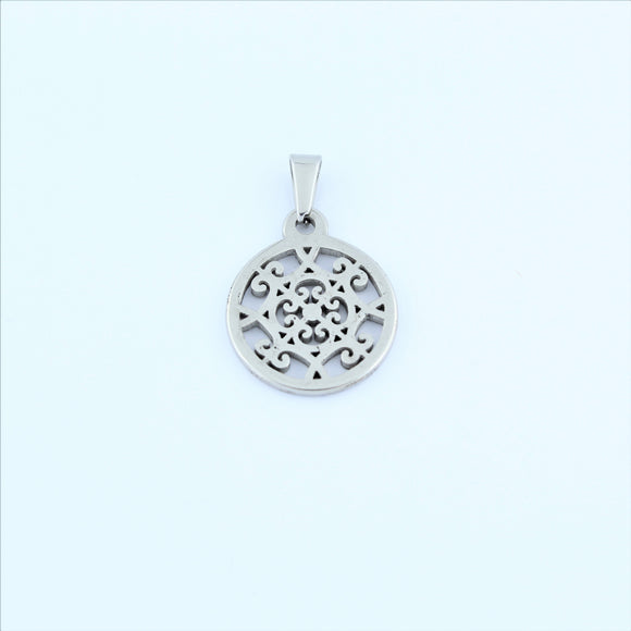 Stainless Steel Small Filigree Disc Pendant