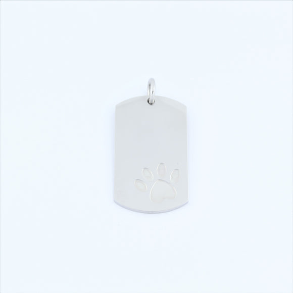 Stainless Steel Paw Print Tag Pendant