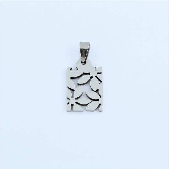 Stainless Steel Small Flower Tag Pendant