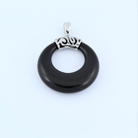 Stainless Steel Black Onyx Ring Pendant