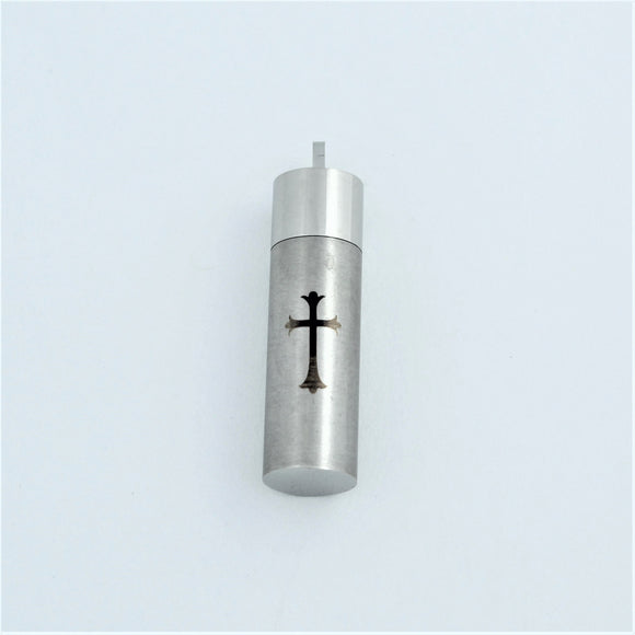 Stainless Steel Memorial Cross Cylinder Pendant