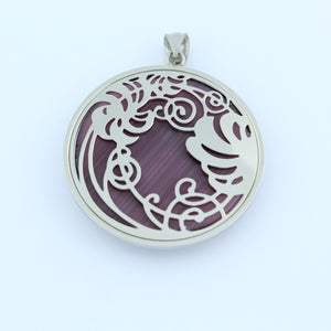 Stainless Steel Purple Filigree Disc Pendant