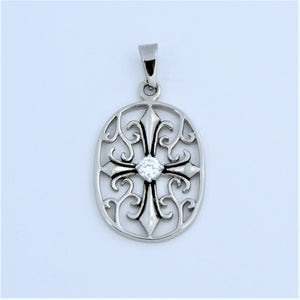 Stainless Steel Oval Floral Cross CZ Pendant
