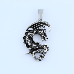 Stainless Steel Winged Dragon Pendant