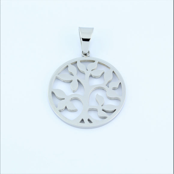 Stainless Steel Leafy Tree Of Life Disc Pendant