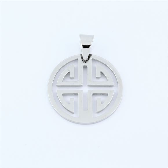 Stainless Steel Greek Disc Pendant