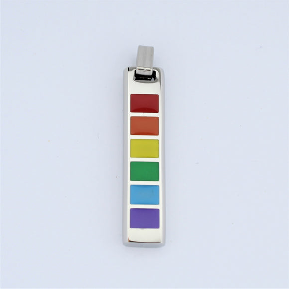 Stainless Steel Rainbow Bar Pendant