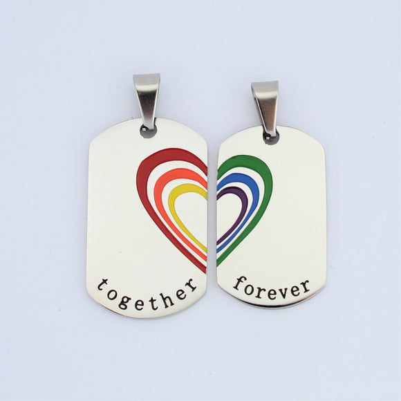 Stainless Steel Couples Rainbow Heart Tags Pendant (2)