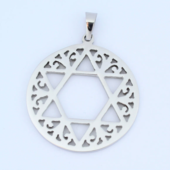Stainless Steel Star Of David Disc Pendant