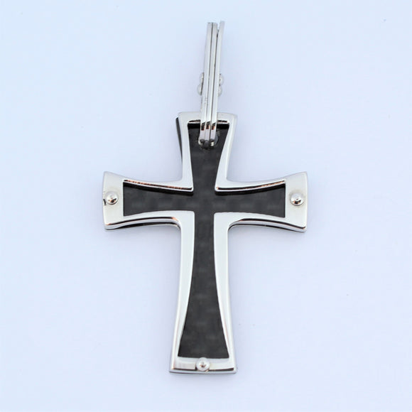 Stainless Steel Black Carbon Fibre Cross Pendant