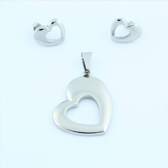 Stainless Steel Heart Earring/Pendant Set