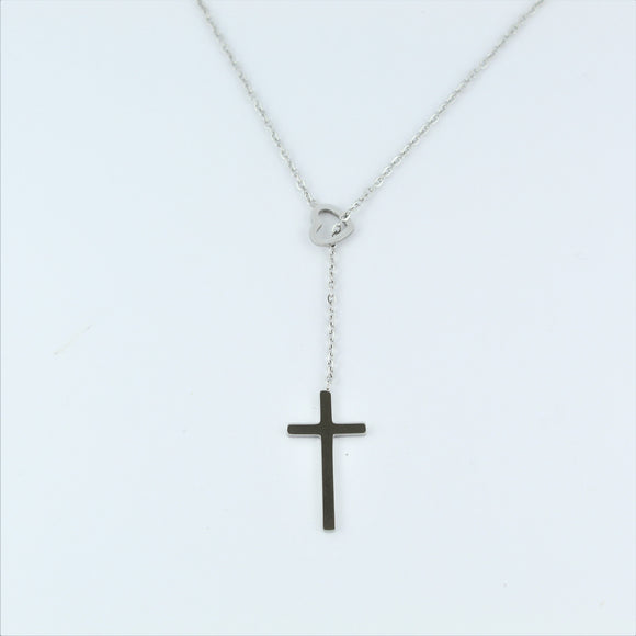 Stainless Steel Heart/Cross Lariat 45cm