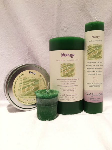 Money-Reiki Charged Herbal Candle