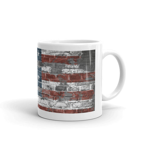 US Flag Brickfront Mug