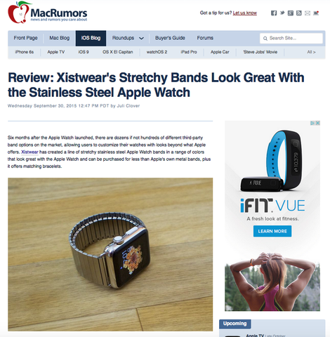 www.MacRumors.com review of XISTWEAR's Apple Watch Bands and Bracelets. Fashion stainless steel, stretchy bands and bracelets for the Apple Watch.  Apple Watch Fashion Replacement Band. Mac Rumors Reviews.