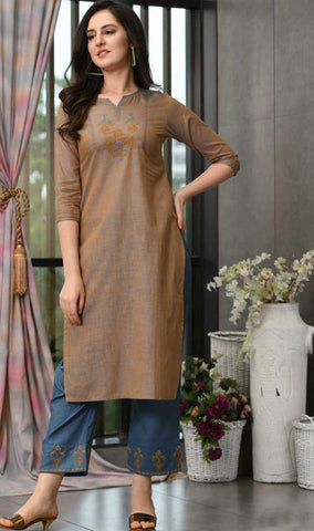 Brown & Blue Cotton Blend Casual Stylish Embroidery Women Long kurti with Straight Pant Set