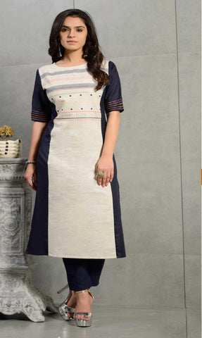 Off White & Blue Cotton Blend Casual Stylish Women Kurti Kurta