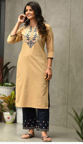 Light Yellow & Blue Cotton Blend Casual Stylish Embroidery Women Long kurti with Straight Pant Set
